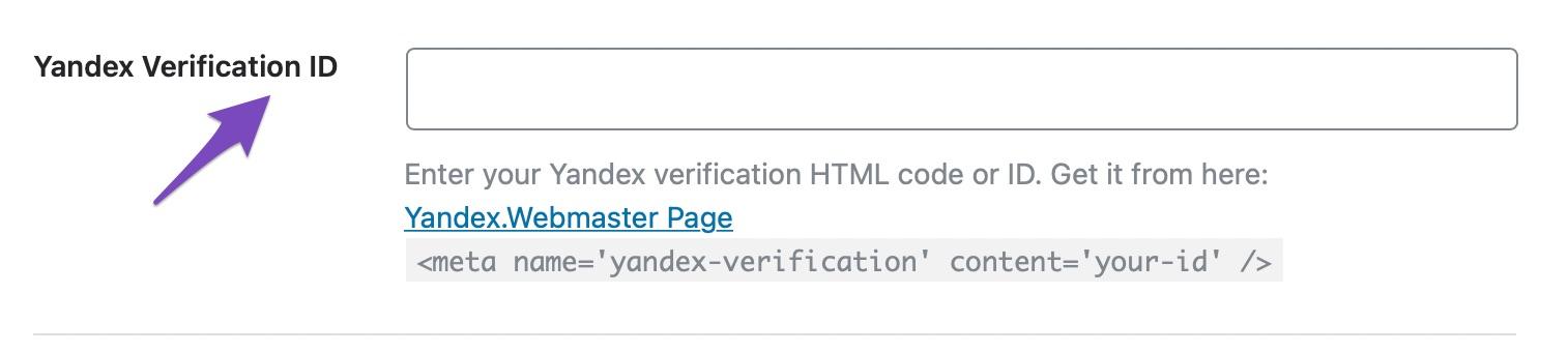 Enter the Yandex Verification ID in Rank Math