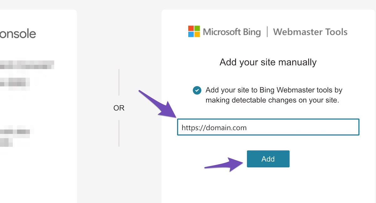 enter your website URL on Bing