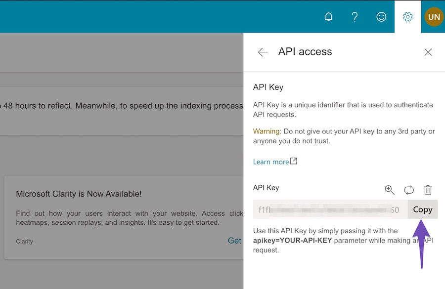 Copy Bing API Key