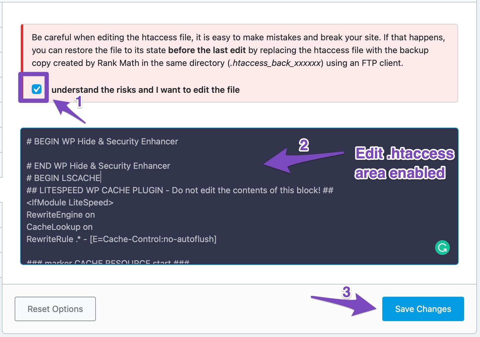 Edit .htaccess file in Rank Math