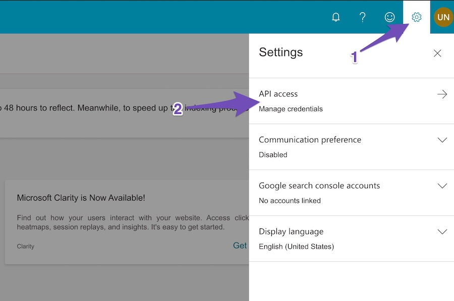 Bing Webmasters Settings