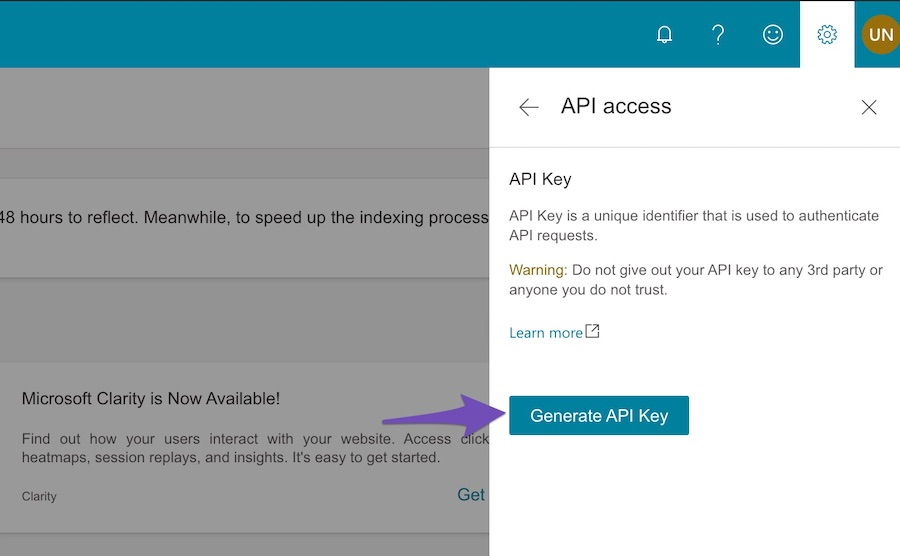 Generate Bing API Key