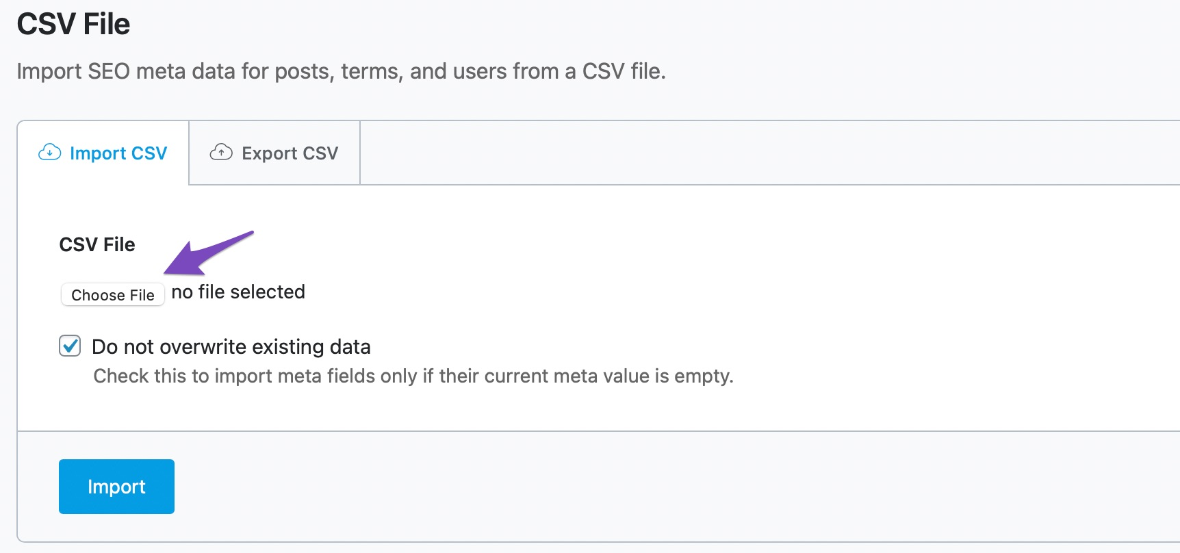 Import from a CSV File