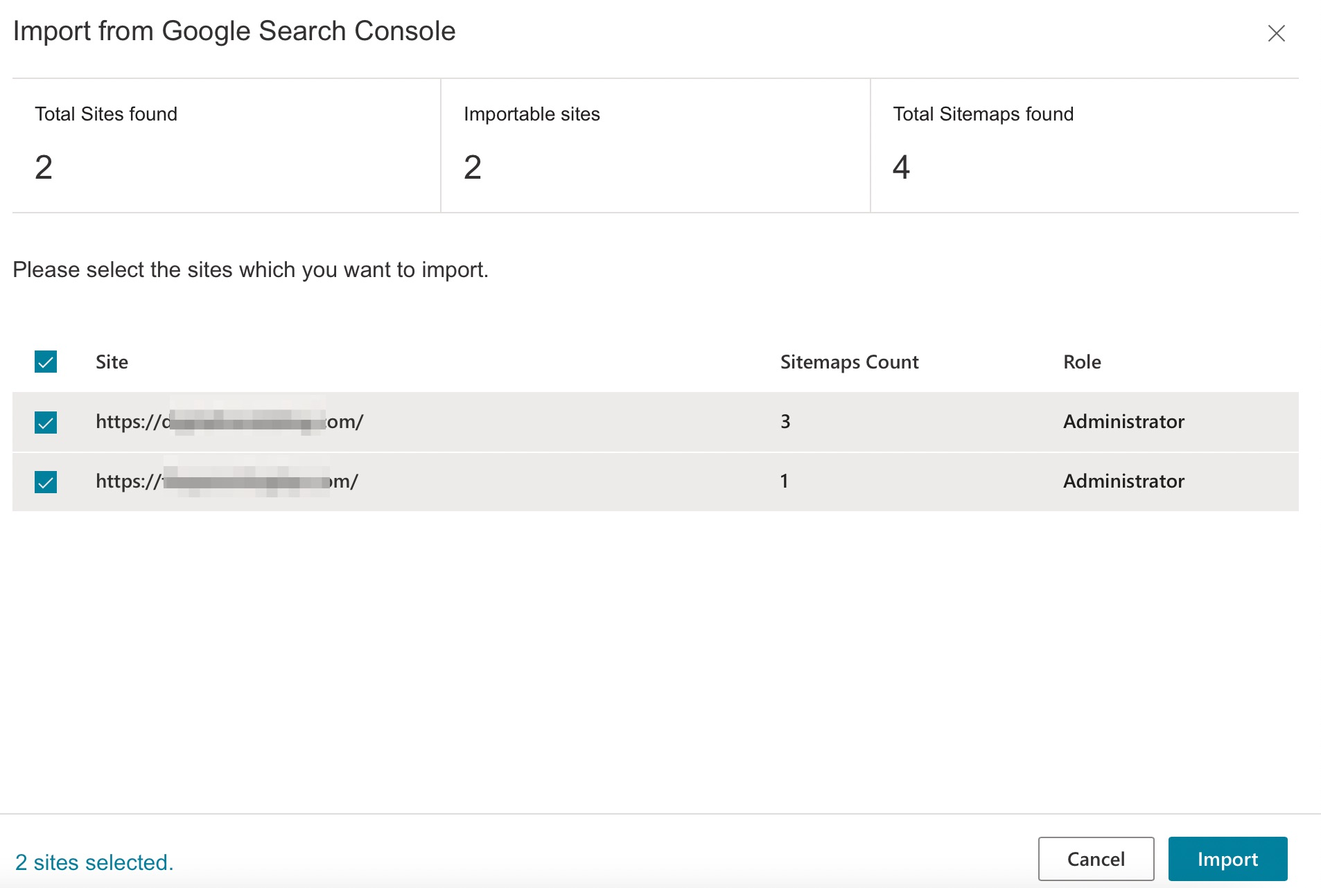 Import from Google Search Console