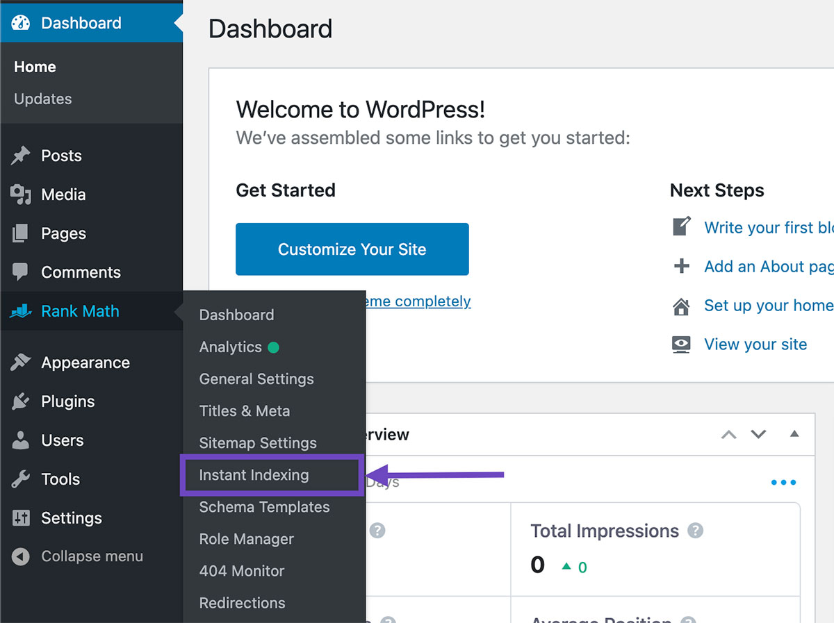 Instant Indexing Menu Link