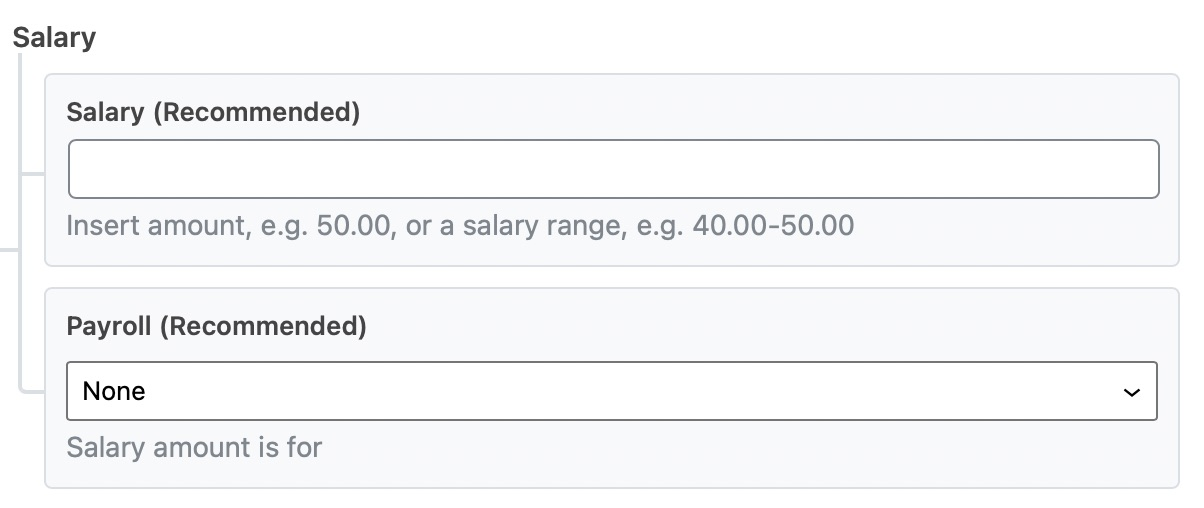 Enter the salary details