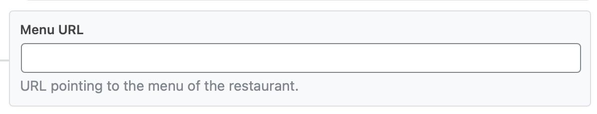 Enter the URL of the menu