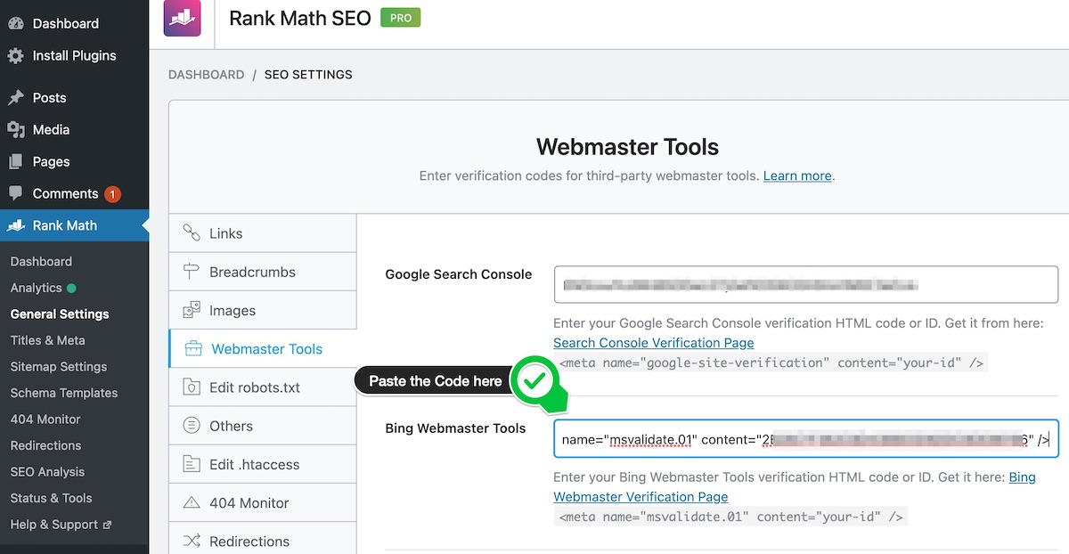 Paste the Bing Verification Code in Rank Math