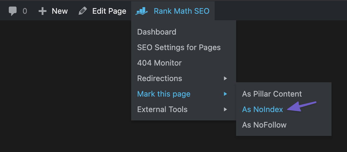 Rank Math Admin Bar Mark Page as NoIndex