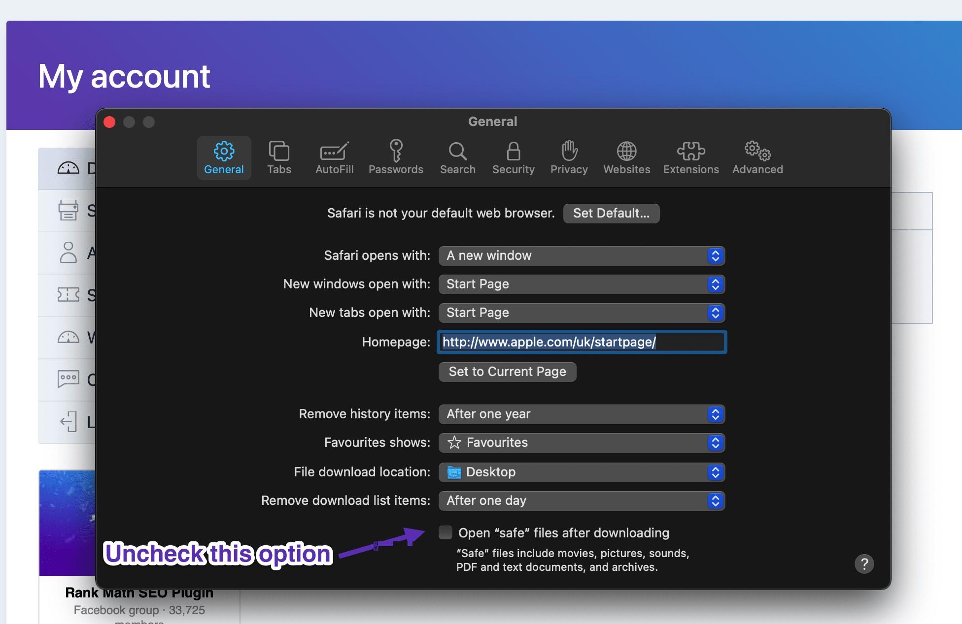 Uncheck 'safe' files option