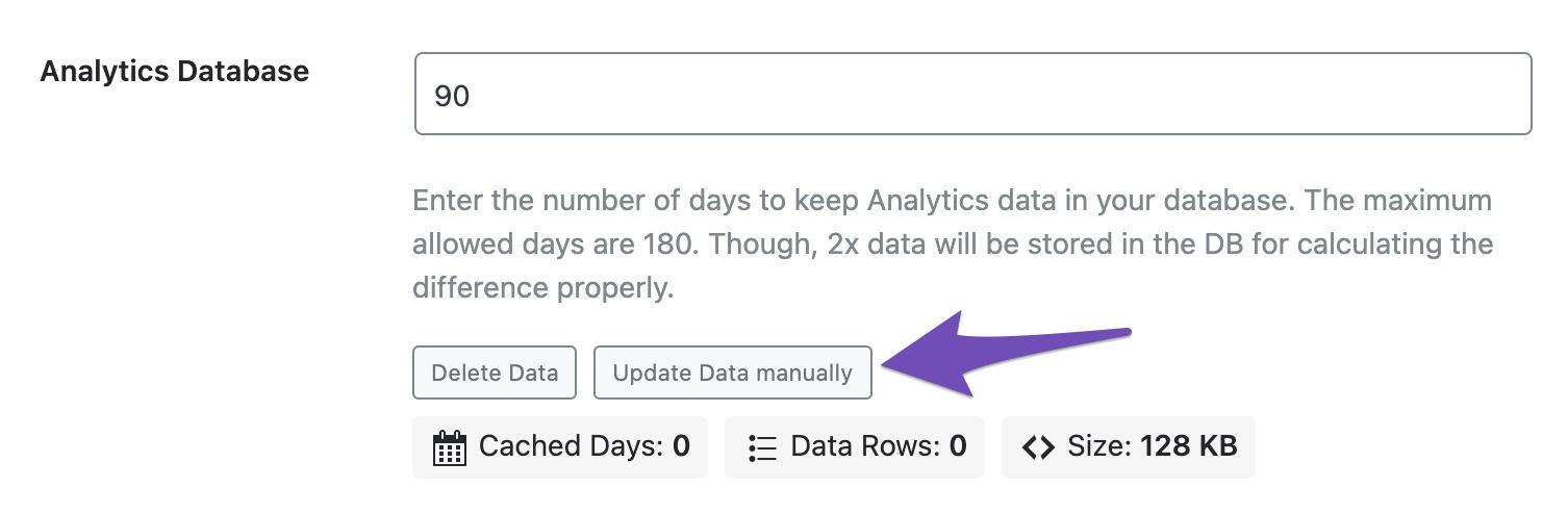 update data in analytics manually