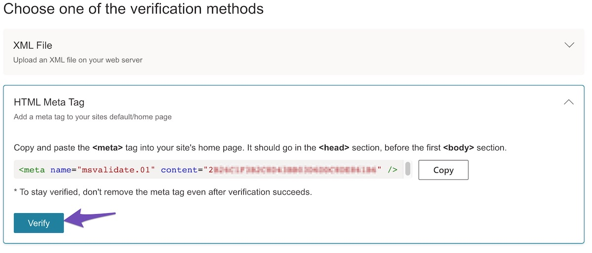 Hit the Verify Button in Bing
