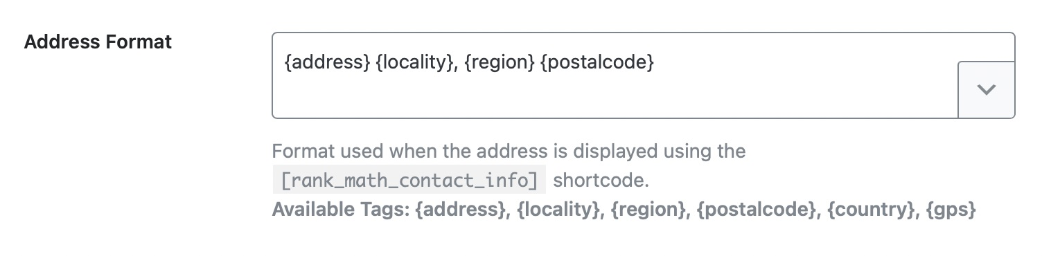 Customize the format of the address