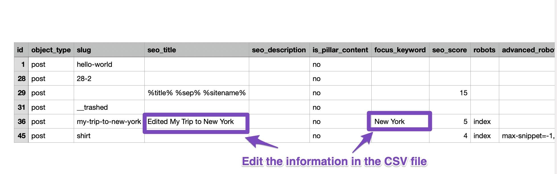 Edit Information in CSV File