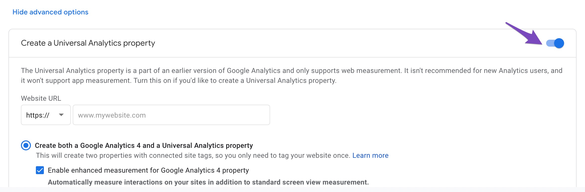enable Create a Universal Analytics Property.