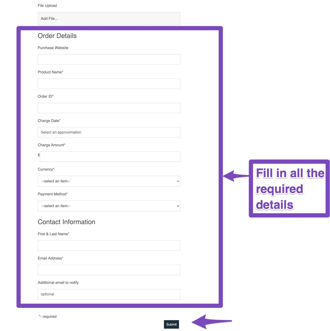 Fill in the required details