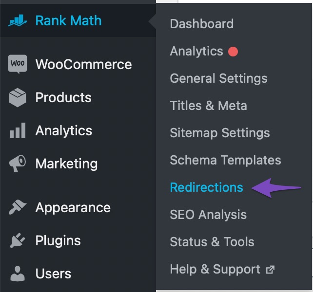 reach the redirections page in rank math