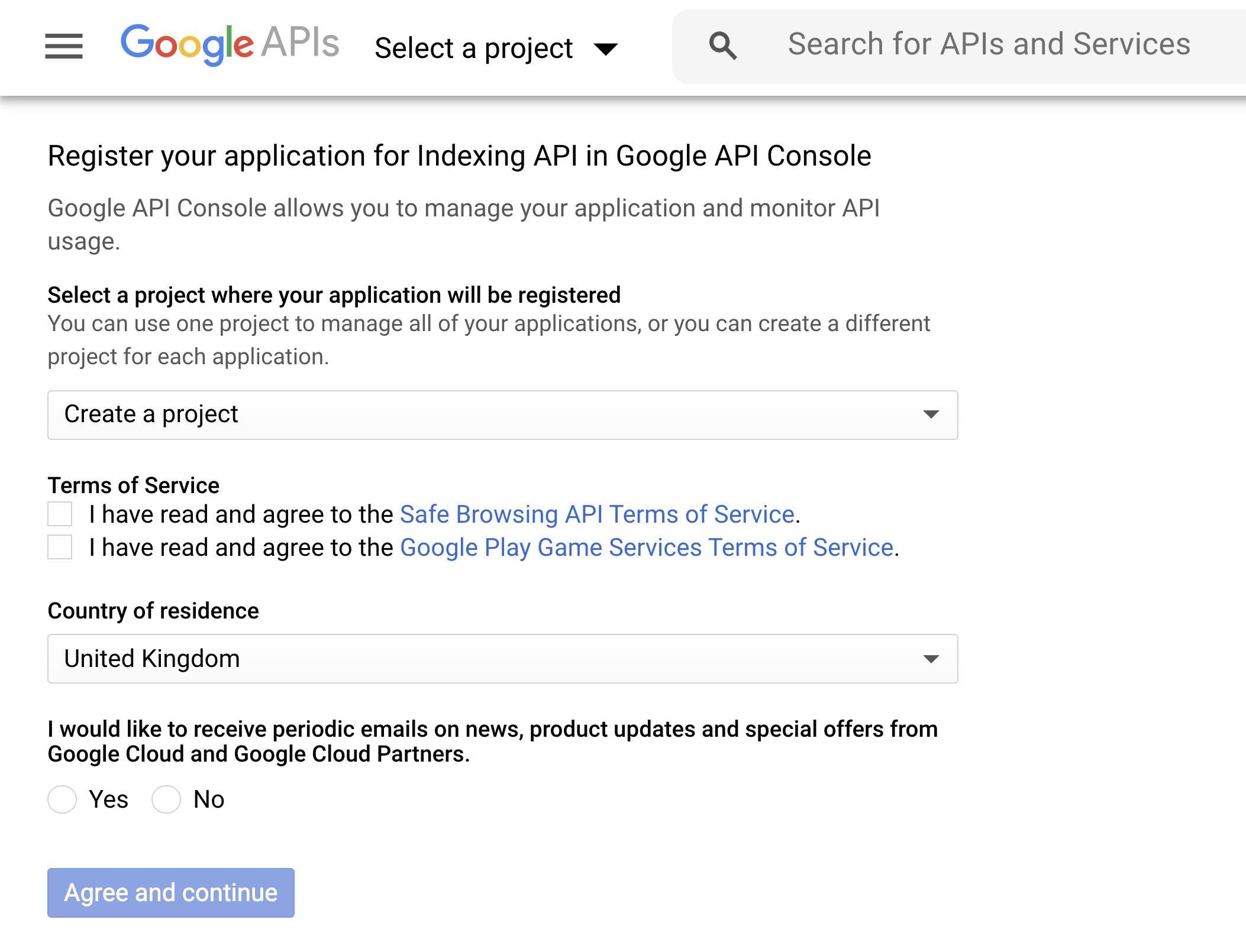 Create new Indexing API
