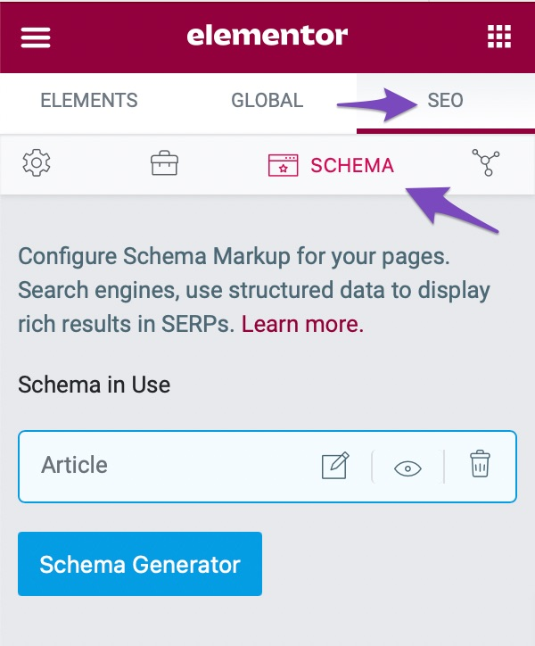 Navigate to the Schema tab
