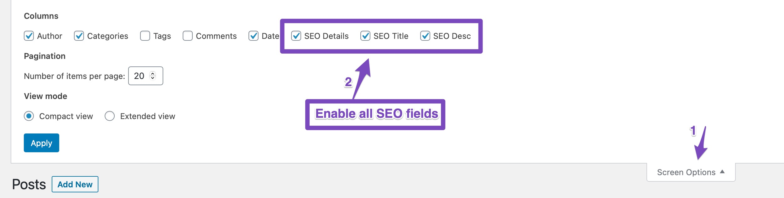 Enable All SEO Fields From Page Settings