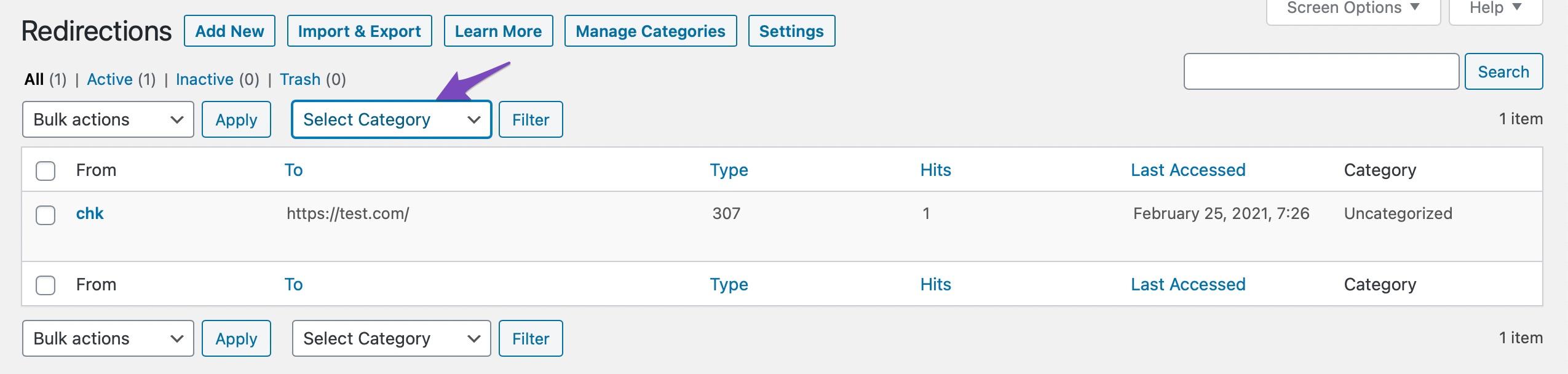 filter using categories