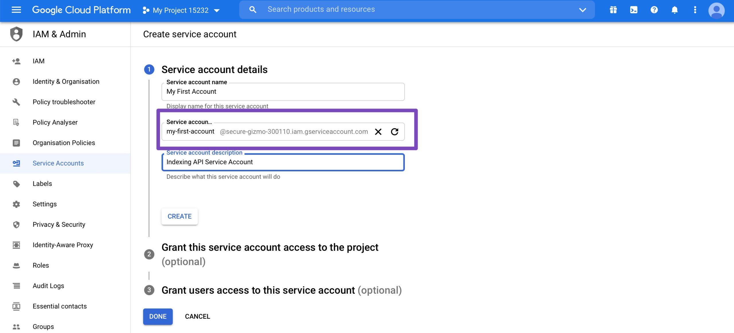 Service Account Details