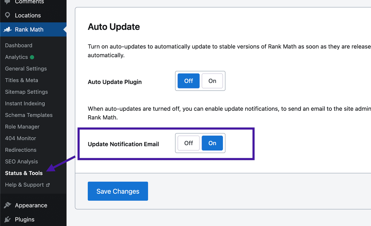 update notification email