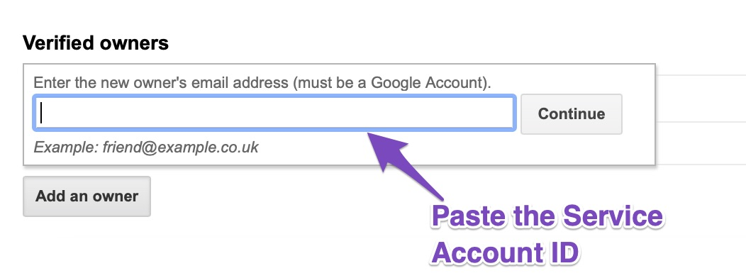 Paste the Service Account ID
