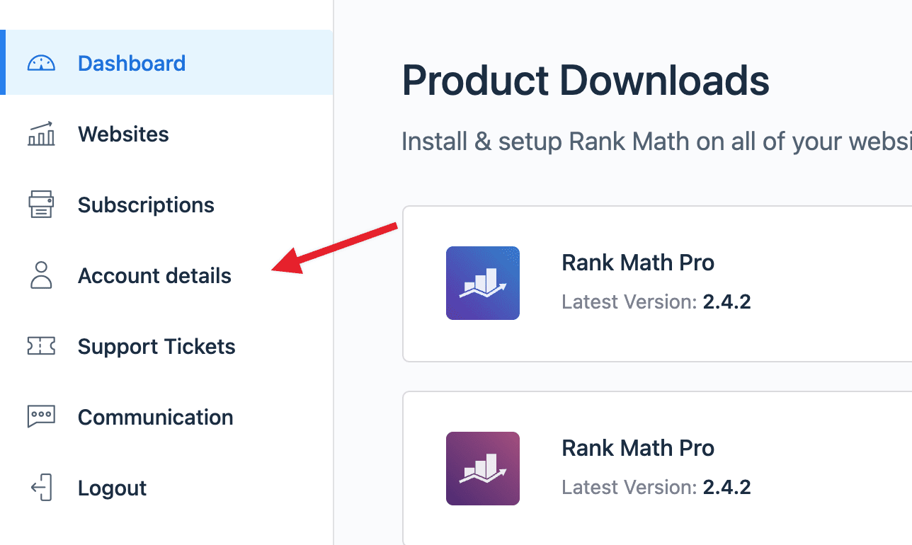 Rank Math account details section