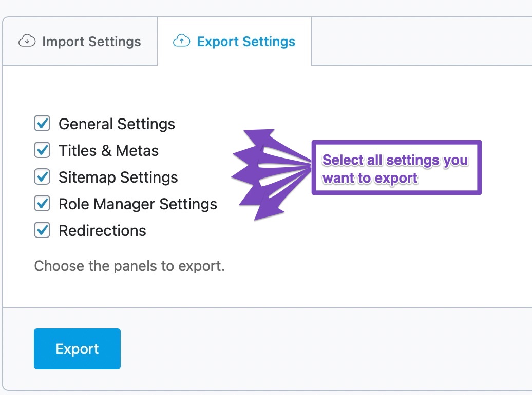 select settings to export from rank math