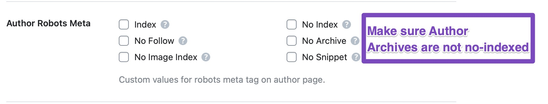 make sure author robots meta are indexed