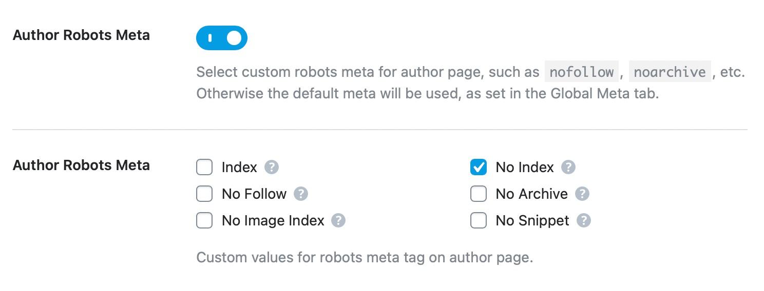 Author robots meta custom settings