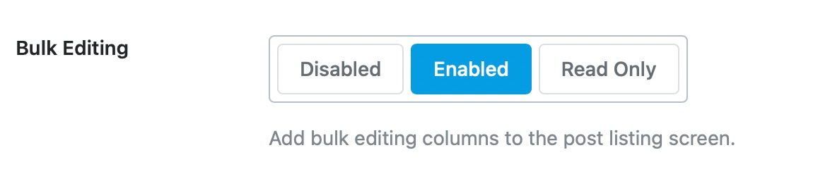 Enable or disable bulk editing for products