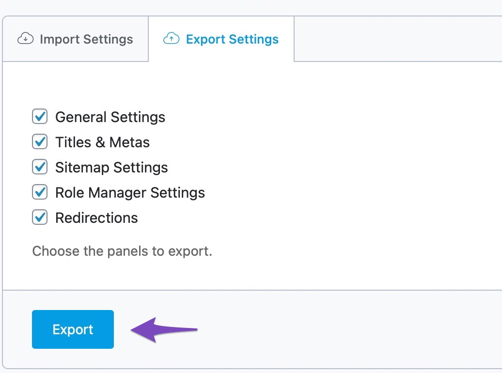 export selected settings from rank math