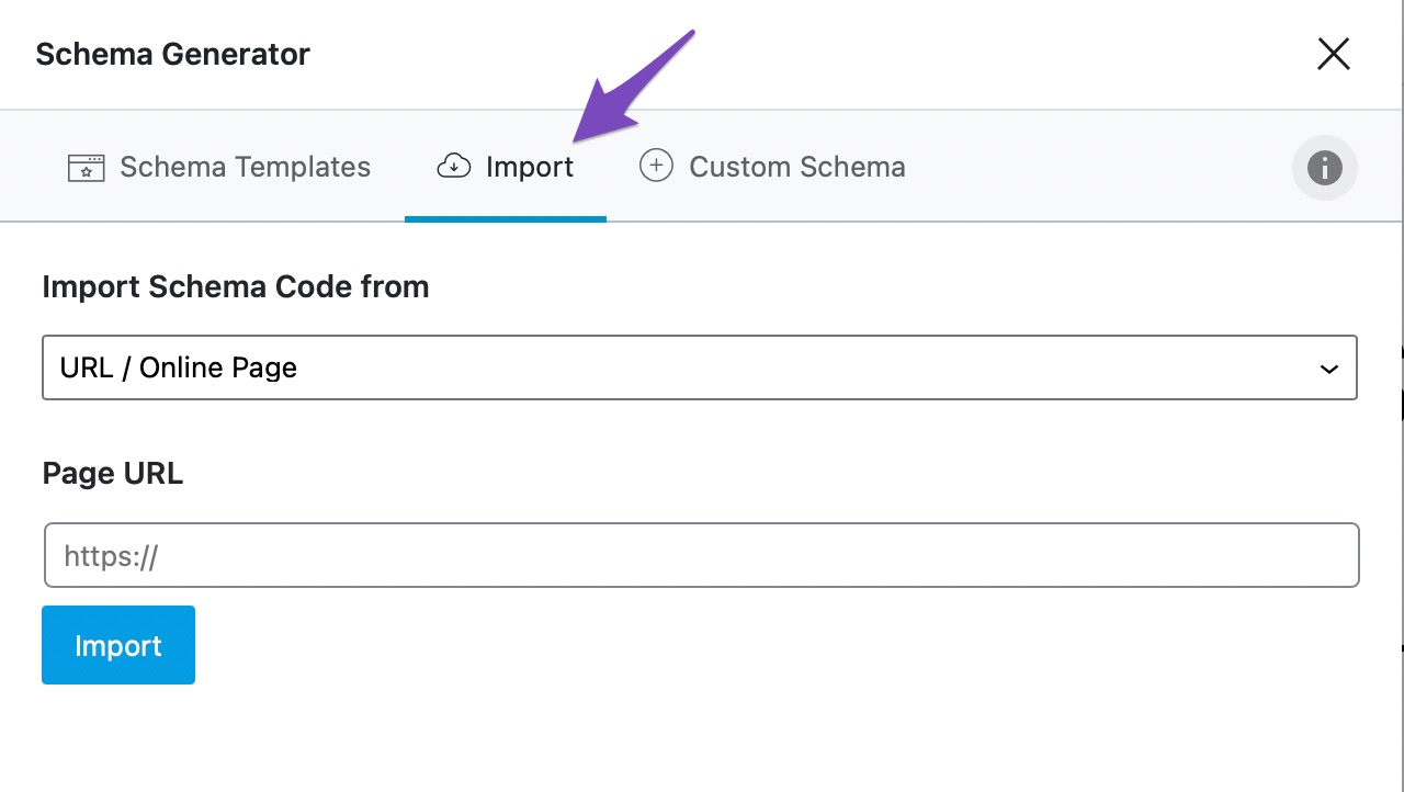 Click on the Import tab
