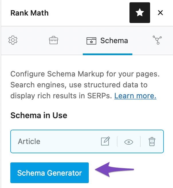 Click on Schema Generator