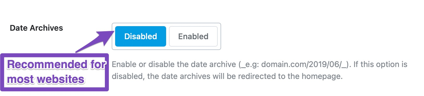 date archives enabled or disabled