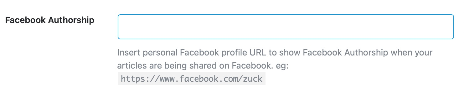 Enter your Facebook authorship id - Social Meta