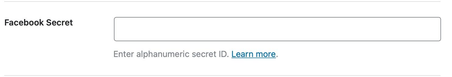 Enter your Facebook secret key - Social Meta