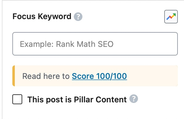 presence of focus keyword settings in rank math