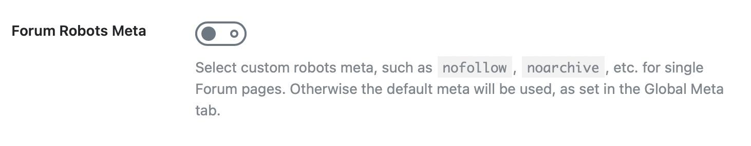 meta robots for forums