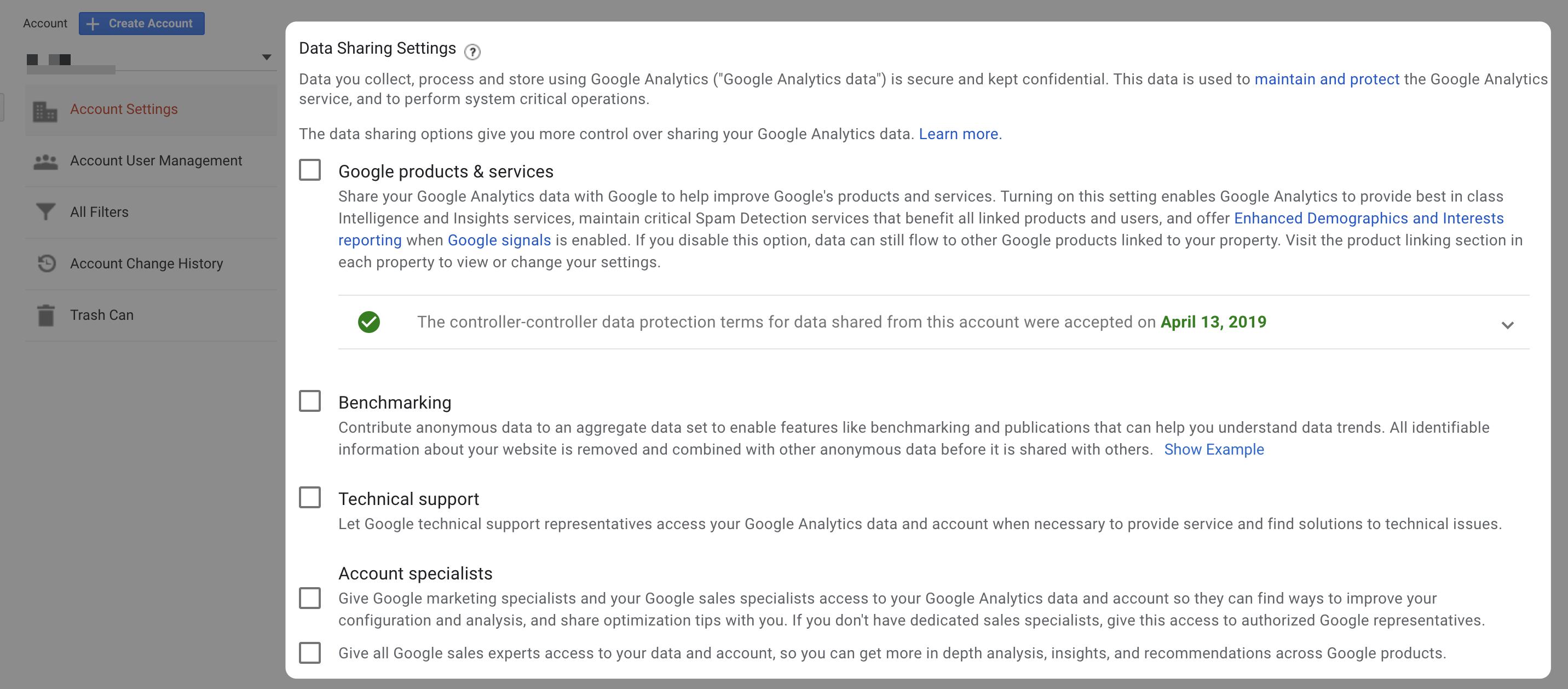 Google Analytics Data Sharing Settings