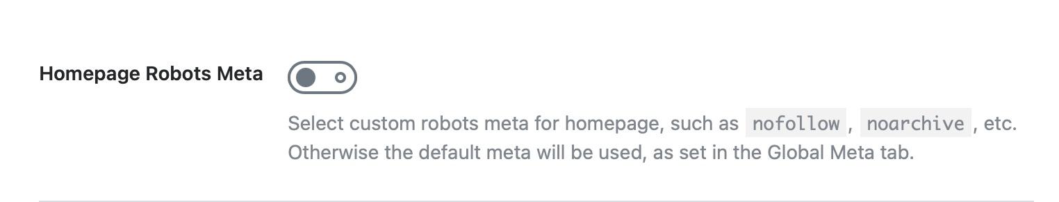 Homepage robots meta