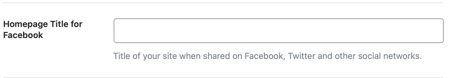 Homepage title for Facebook