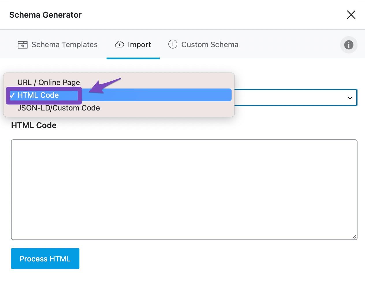 select HTML Code option