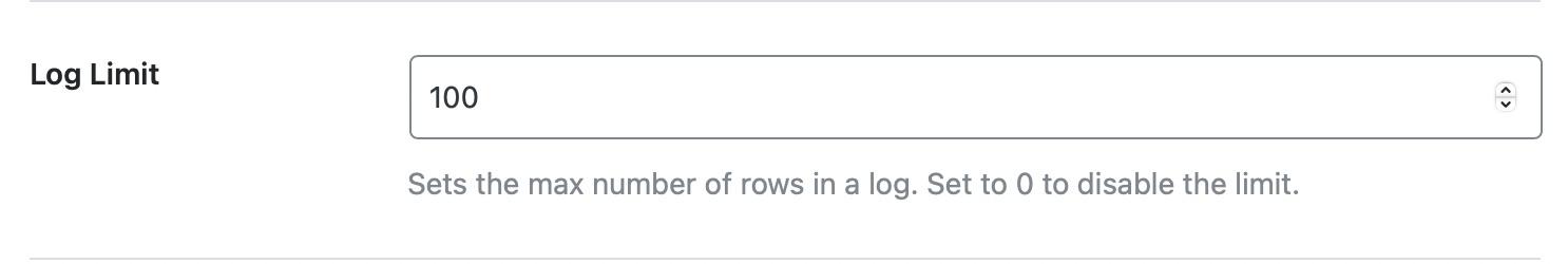 set log limit