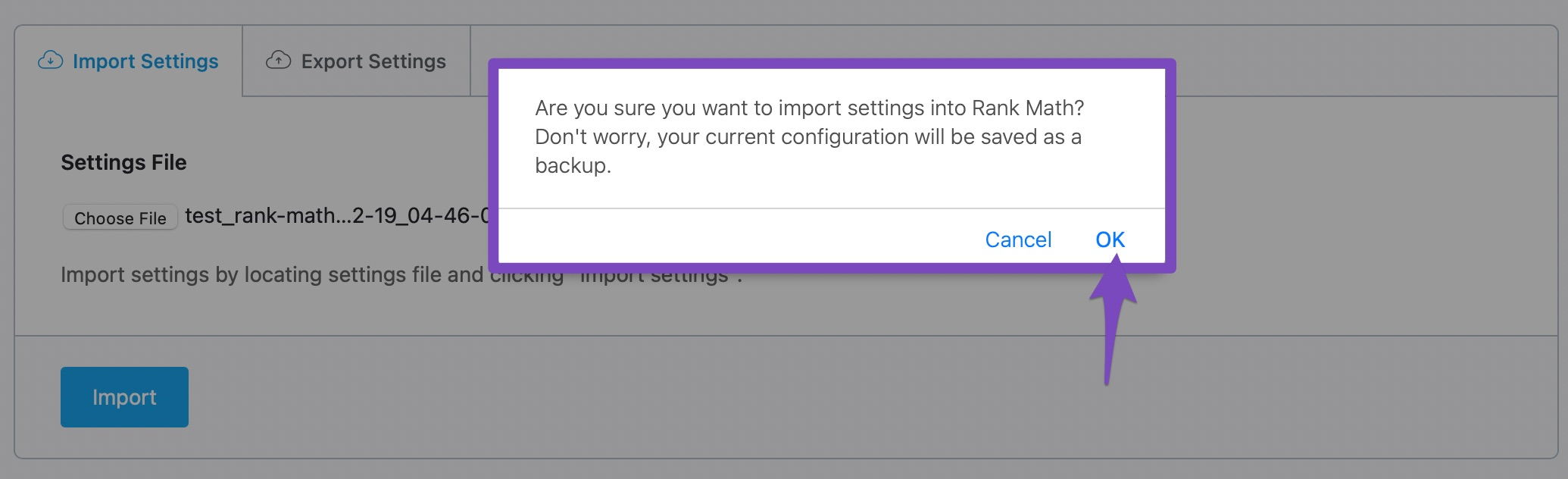 confirm the import of settings