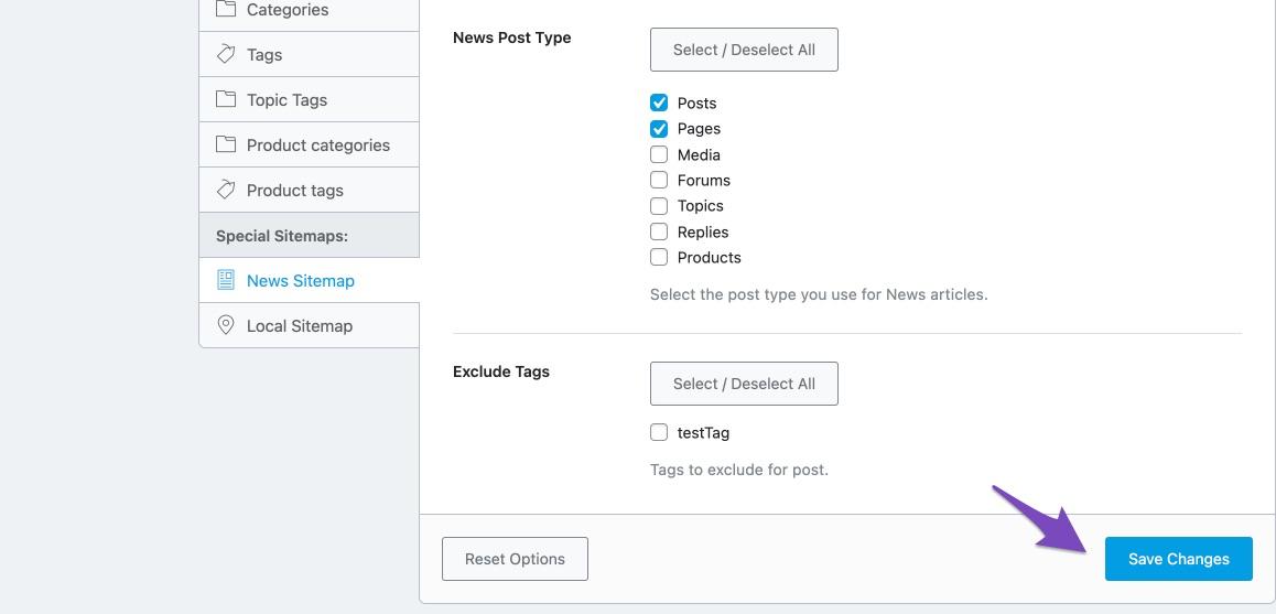 Saving All Global News Sitemap Settings In Rank Math