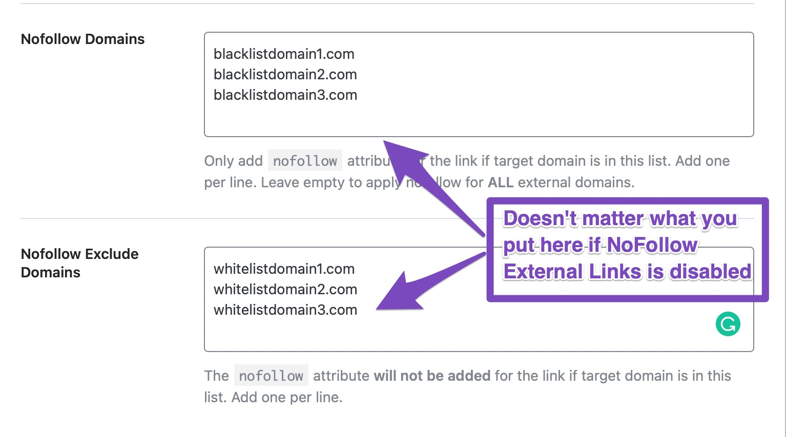 what happens if nofollow external links are off
