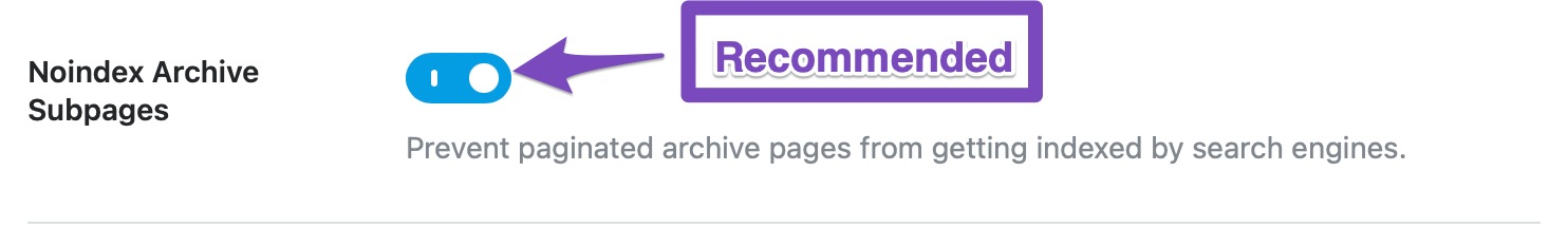 noindex archive subpages